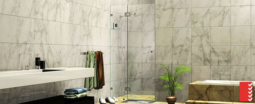 Two Panel Wall-to-Wall Shower Screens