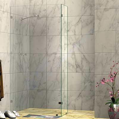 Frameless Fixed L-Shaped Shower Screen