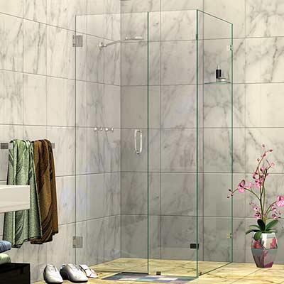 Wall Mount Door Corner Frameless Shower Screen