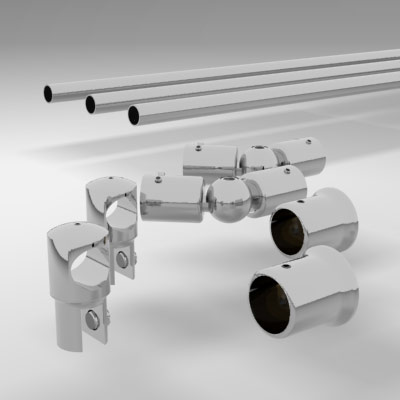 Splay Diamond Corner Shower Rail Support Bar System