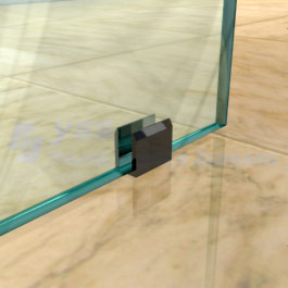 U-Shaped Floor Bracket - No Hole Required in Glass