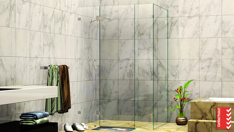 Rectangle Corner Frameless Shower Screen