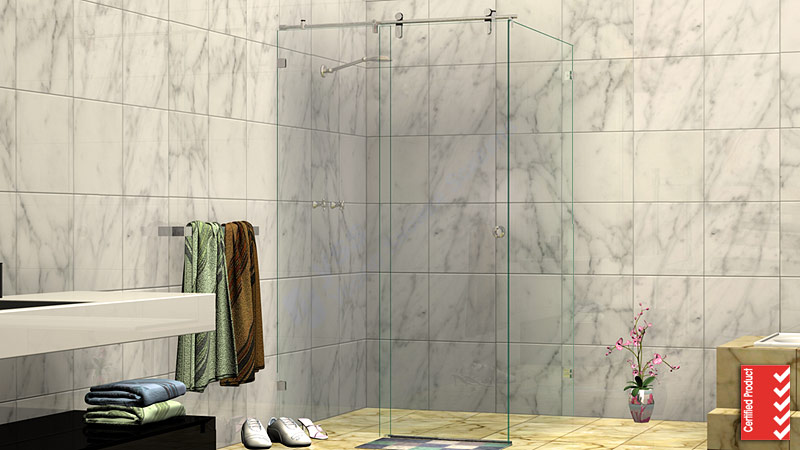 Frameless Shower Screen - HE Corner Sliding Shower Screen Model | sliding showerscreen
