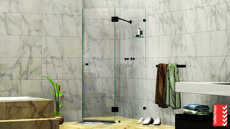 Splay Diamond Corner Frameless Shower Screen