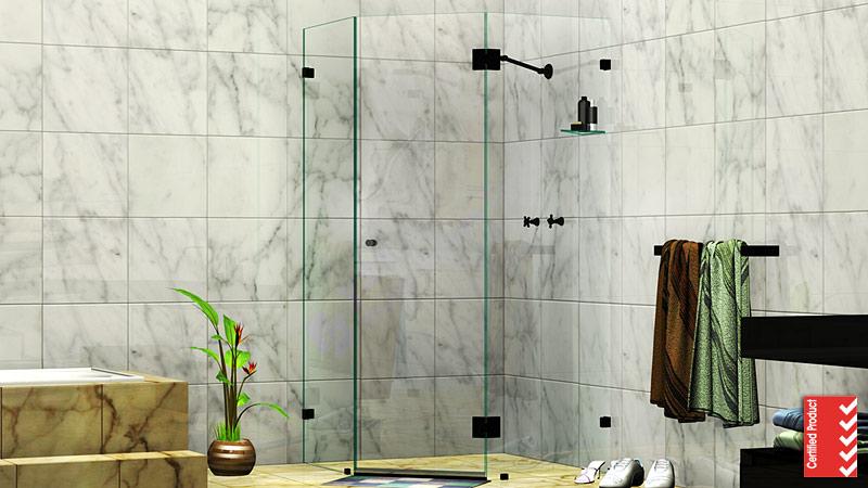 Splay Diamond Corner Frameless Shower Screen