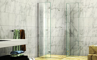 825 845 X 1950h Four Panel Bi Fold Corner Entry Shower