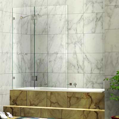 Frameless Two Panel Shower Bath Screen