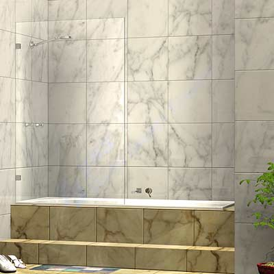 Frameless Single Fixed Shower Bath Screen