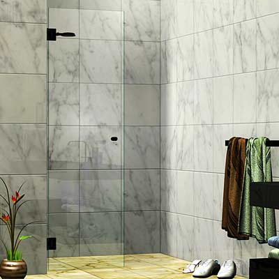 Single Wall Mounted Door Shower Screen Matte Black