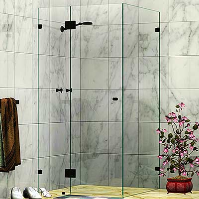 Frameless Corner Shower Screen Matte Black