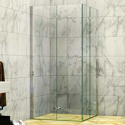 Concertina Corner Entry Shower Screen