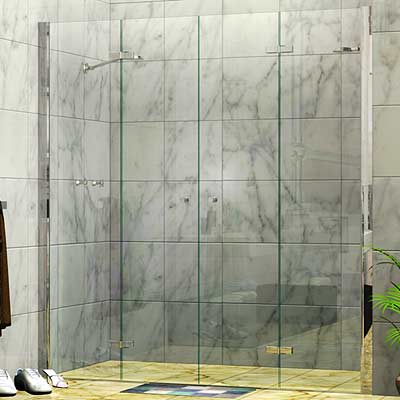 Twin Concertina Wall to Wall Shower Screen