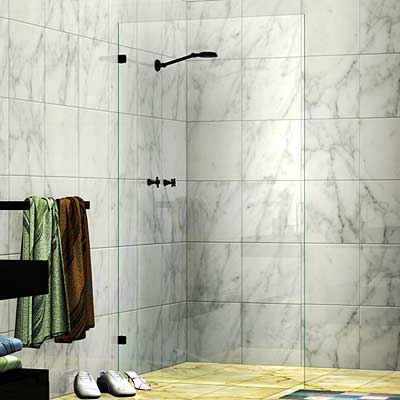 Frameless Single Fixed Panel Shower Screen Matte Black