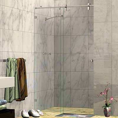 Frameless Two Panel Wall To Wall Sliding Shower Screen