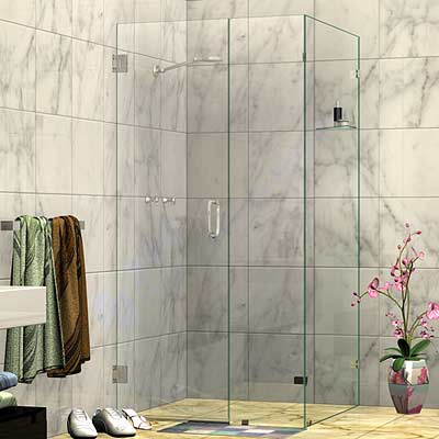 Wall Mount Door Corner Frameless Shower Screen