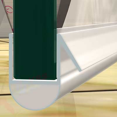 Pvc Au Shape 600mm Length Shower Door Water Seal For 6mm