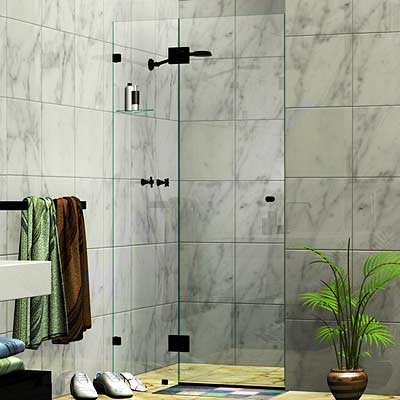 Two Panel Frameless Wall To Wall Shower Screen Matte Black