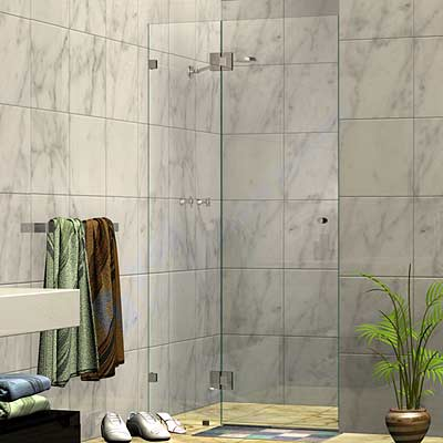 Two Panel Frameless Wall To Wall Shower Screen