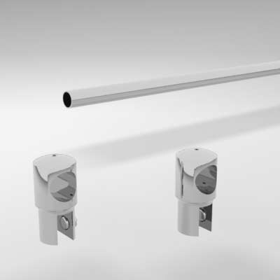 Frameless Shower Rail Support Bar System