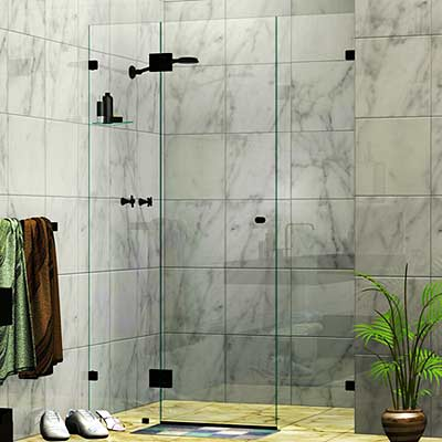 Three Panel Frameless Wall To Wall Shower Screen Matte Black