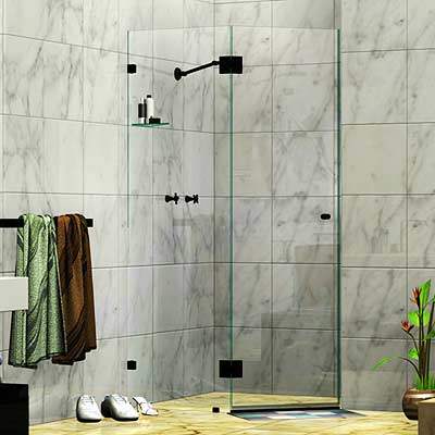 Frameless Two Panel Splay Shower Screen Matte Black