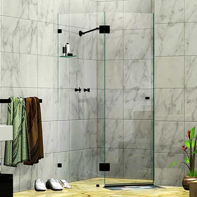 Frameless Two Panel Splay Shower Screen Matte Black