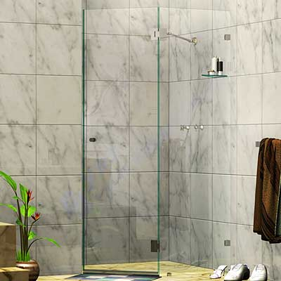 Frameless Two Panel Splay Shower Screen