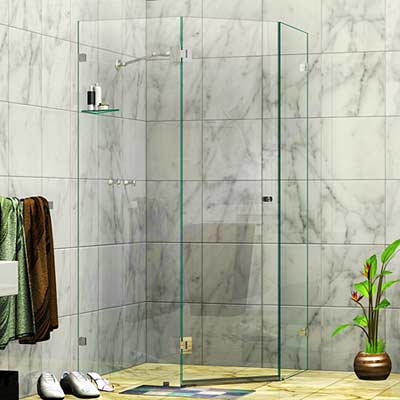 Frameless Splay Diamond Corner Shower Screen