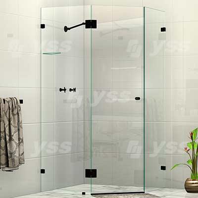 Frameless Splay Diamond Corner Shower Screen Matte Black