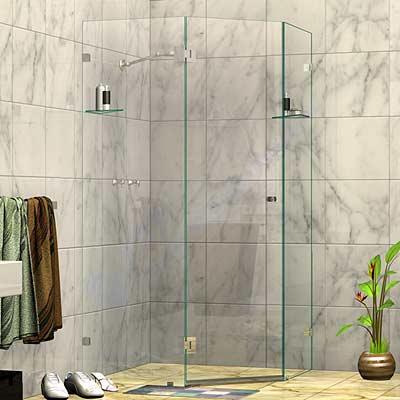Frameless Splay Diamond Corner Shower Screen